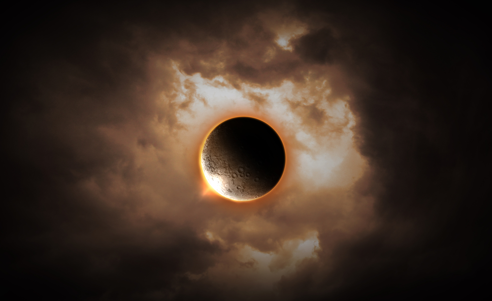 Abstract scientific background - full eclipse, black hole. Elements of this image furnished by NASA